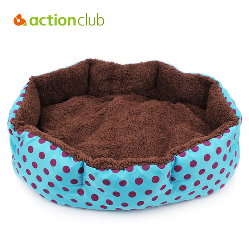 Soft Fleece Dot Design Pet Nest With Removable Pet Mat