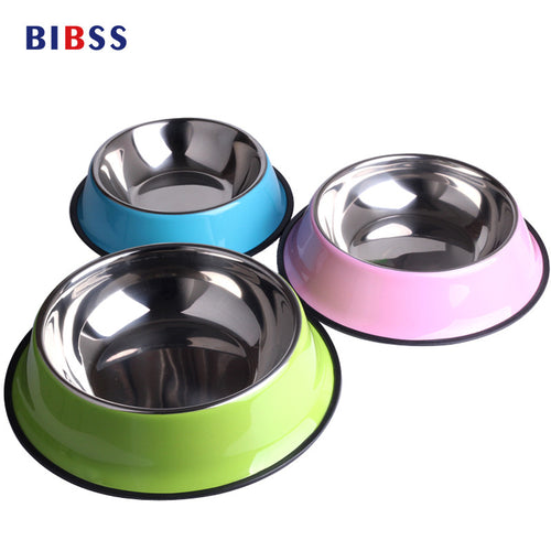 Stainless Steel Pet Dry Food Cat Bowls for Dogs Pink Feeding Dog Bowls 500ML Drinking Water Fountain BIBSS Pet Dog Dish Supplies