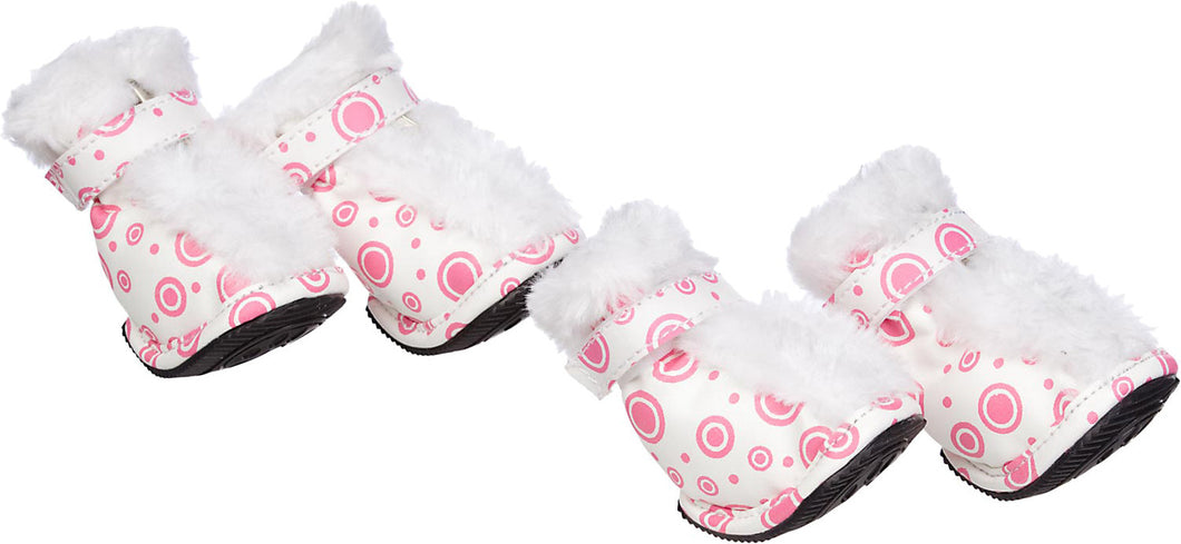Fashion Plush Premium Fur-Comfort Pvc Waterproof Supportive Pet Shoes - Pink & White: X-Small