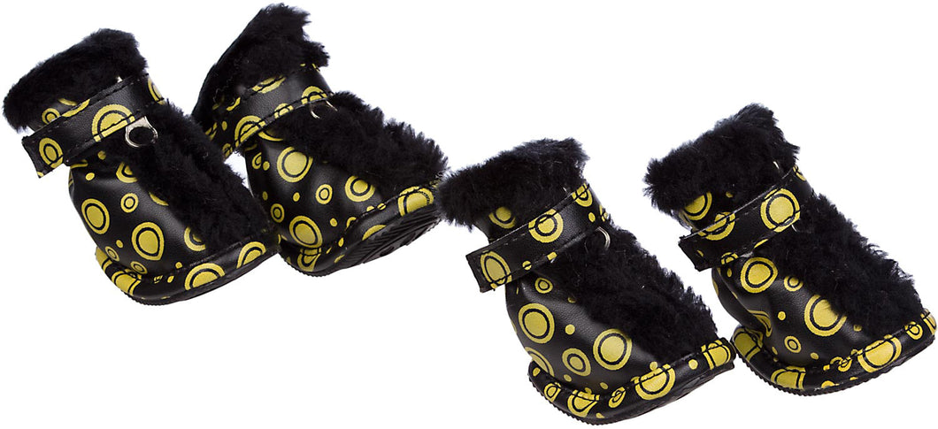 Fashion Plush Premium Fur-Comfort Pvc Waterproof Supportive Pet Shoes - Black & Yellow: X-Small