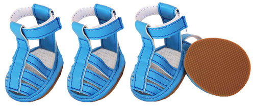 Buckle-Supportive Pvc Waterproof Pet Sandals Shoes - Set Of 4- Ocean Blue