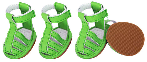 Buckle-Supportive Pvc Waterproof Pet Sandals Shoes - Set Of 4- Neon Green: X-Small