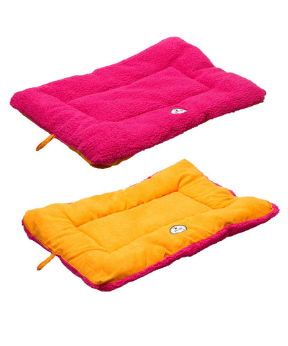 Eco-Paw Reversible Eco-Friendly Pet Bed- Pink And Orange: Medium
