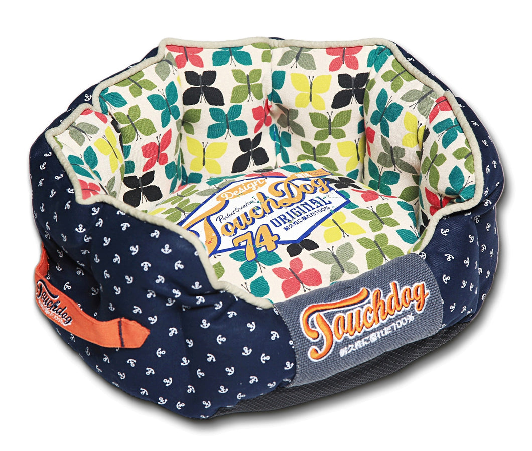 Touchdog Butterfly Rounded Premium Designer Dog Bed: Medium