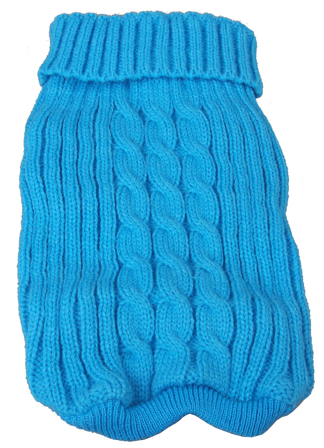 Heavy Cotton Rib-Collared Pet Sweater- Light Blue: X-Small