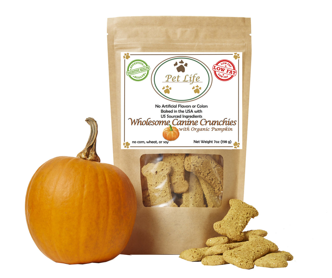 Pet Life Canine Crunchies All Natural Organic and Vegan Pumkin Wholesome Treats