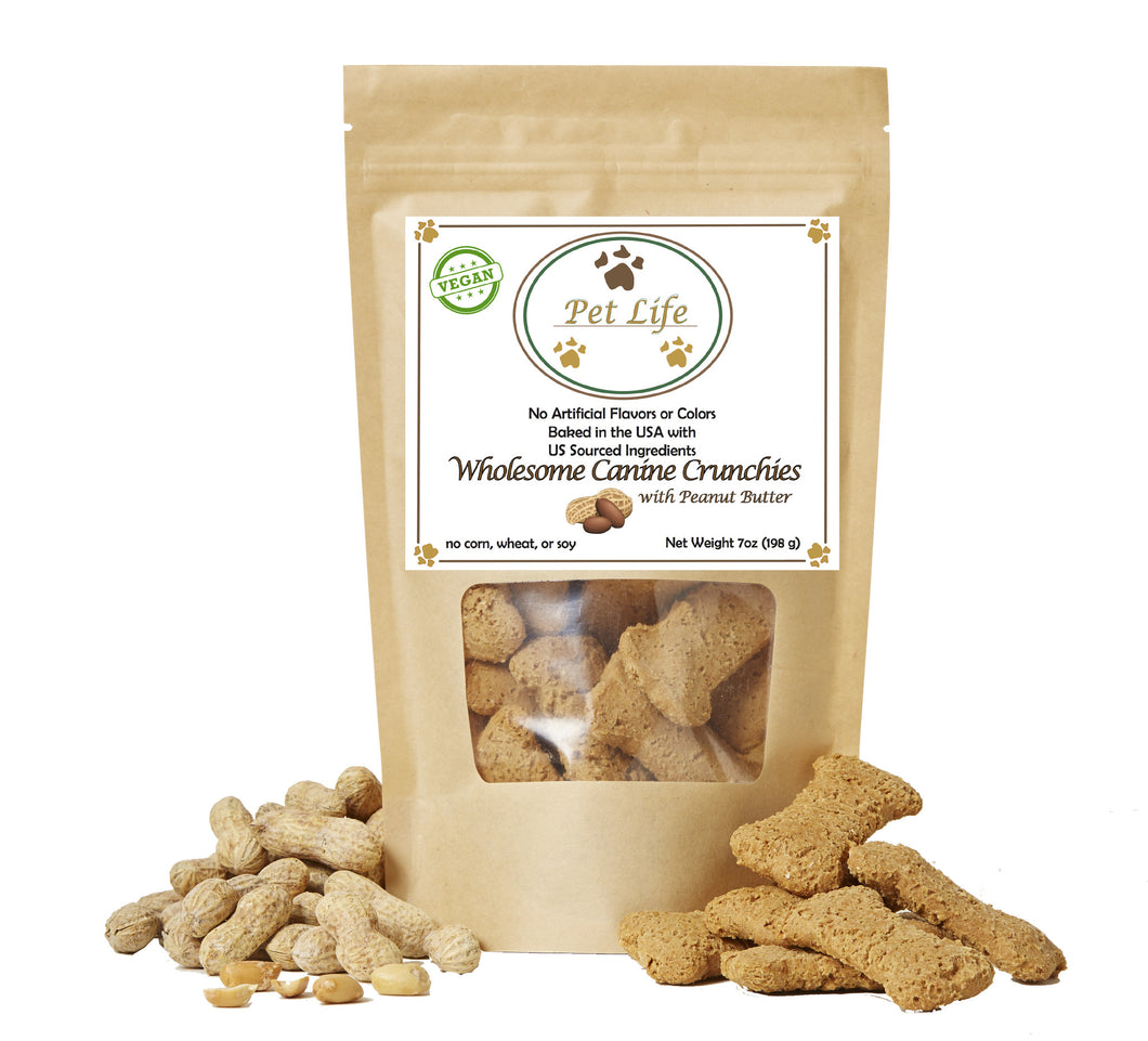 Pet Life Canine Crunchies All Natural Organic and Vegan Peanut Butter Wholesome Treats