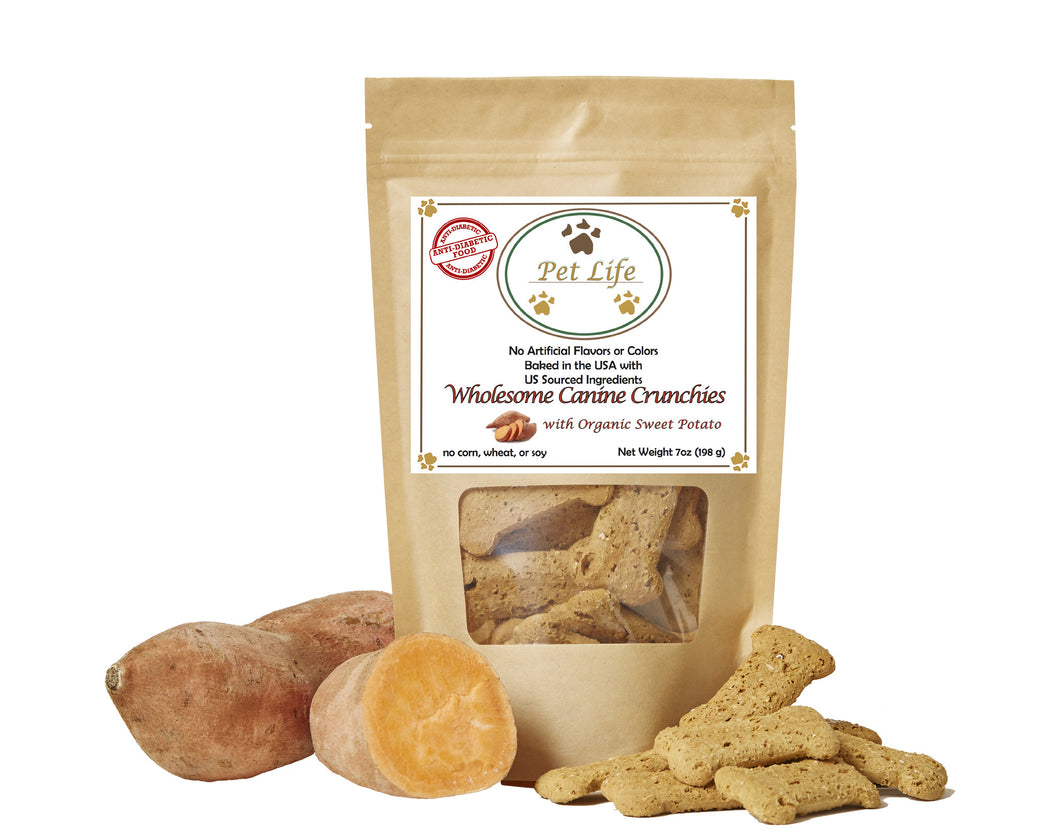 Pet Life Canine Crunchies All Natural Organic and Vegan Sweet Potato Wholesome Treats