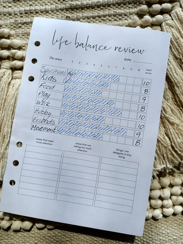 Completed A5 Life Balance review insert