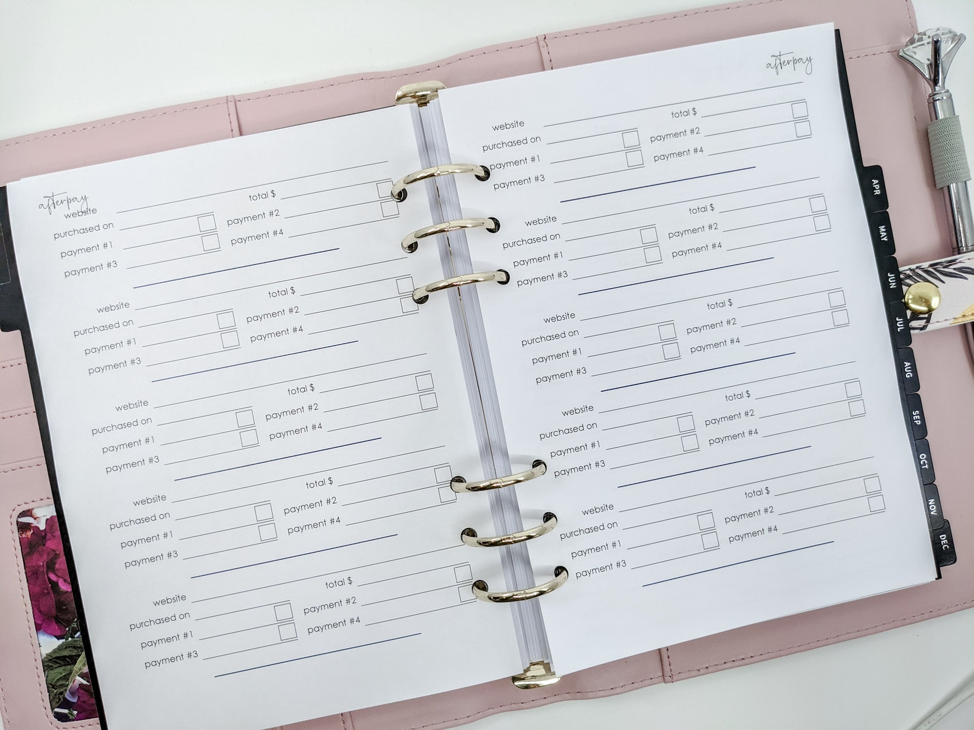 A5 Afterpay Planner Inserts
