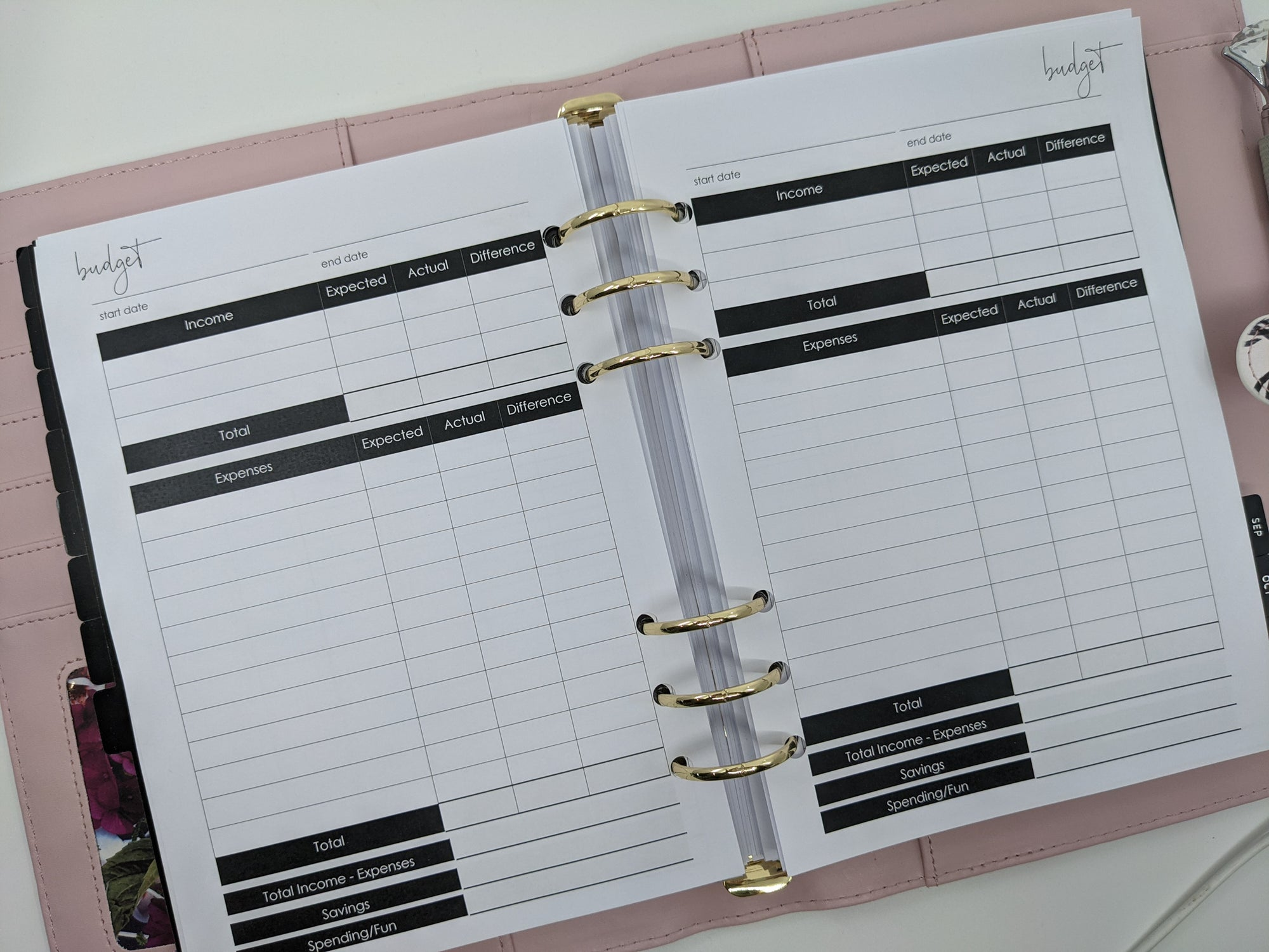 A5 Budget Planner Inserts