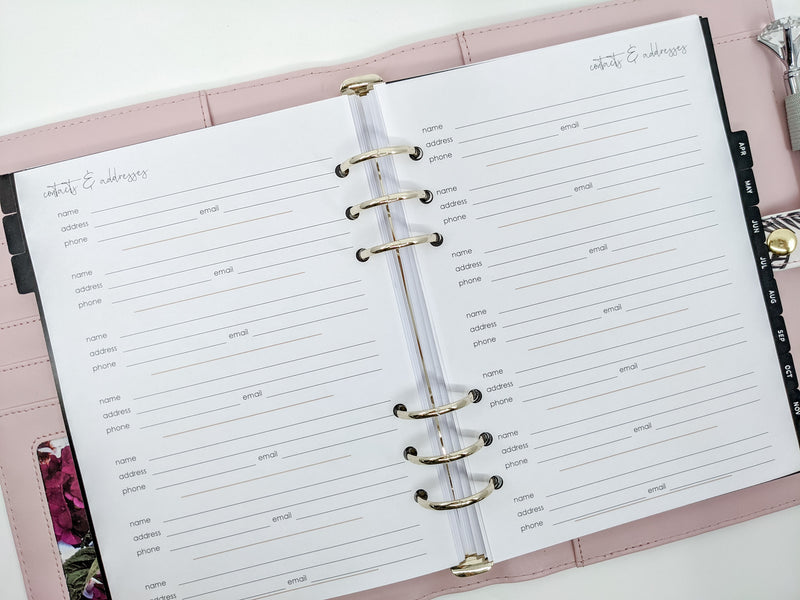 A5 Contacts & Address planner inserts