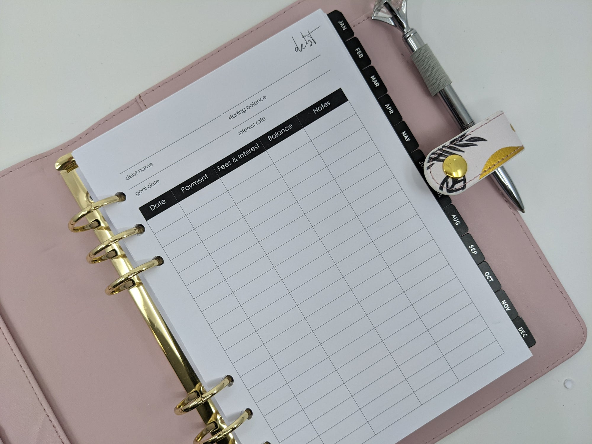 A5 Debt Tracker Planner Inserts  - 10 double-sided sheets