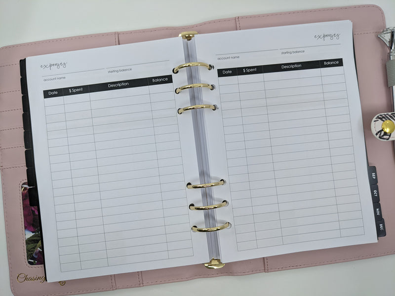 A5 Expenses Planner Inserts