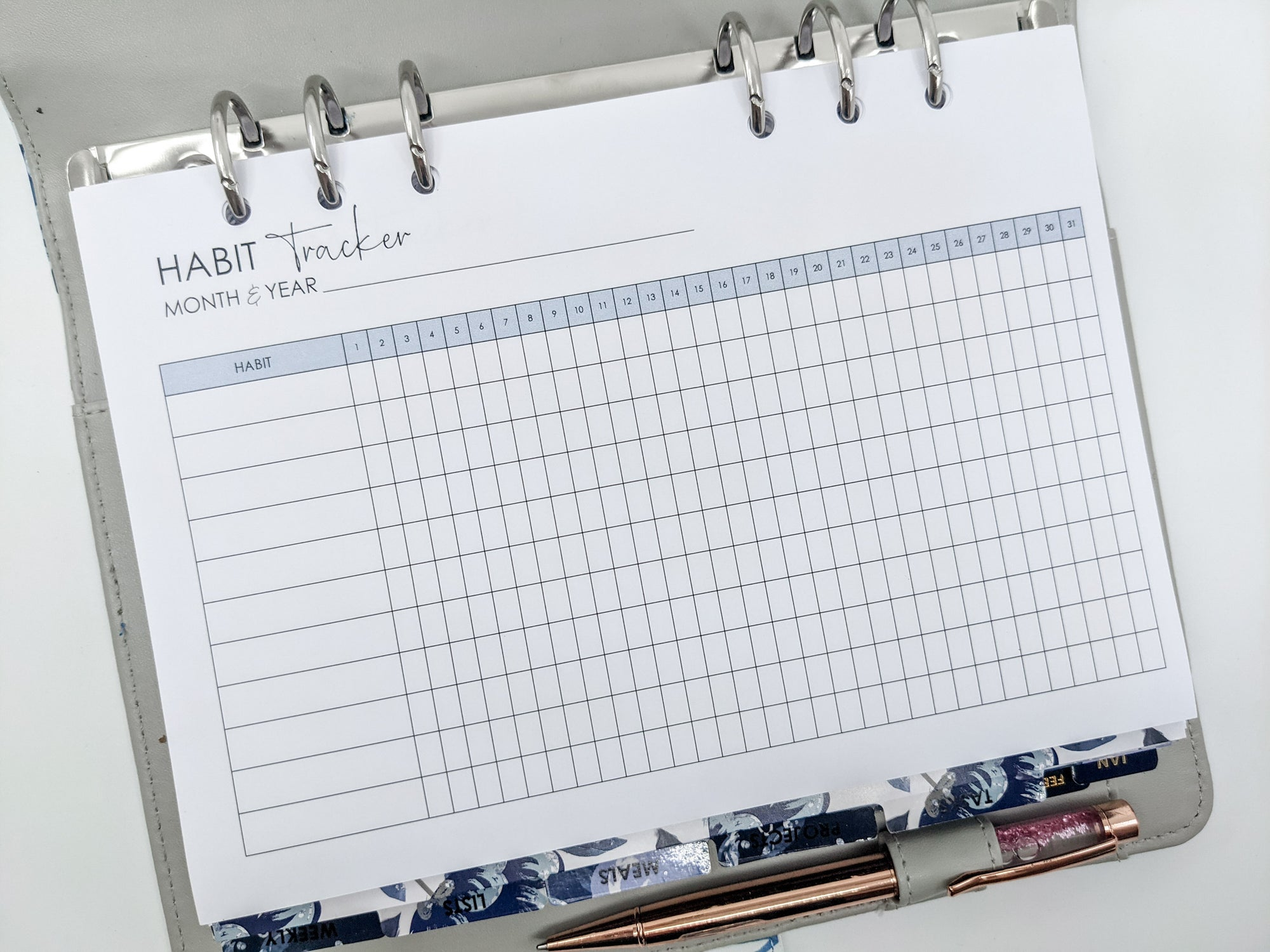 A5 Habit Tracker Planner Inserts | 12 sheets