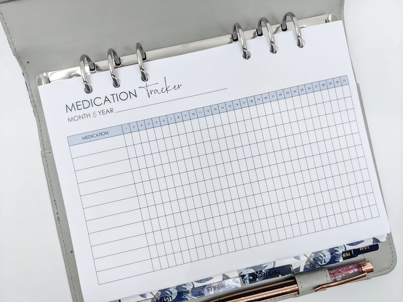 A5 Medication Tracker Planner Inserts | 12 sheets