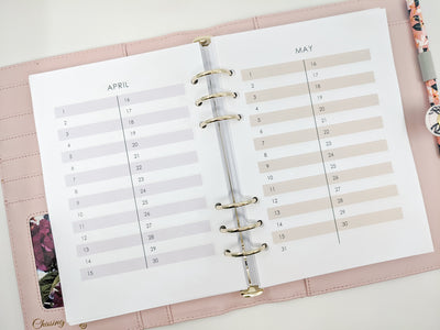 A5 Monthly Events Planner Inserts