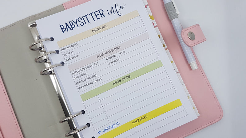 A5 Babysitter Information  planner inserts | 10 sheets