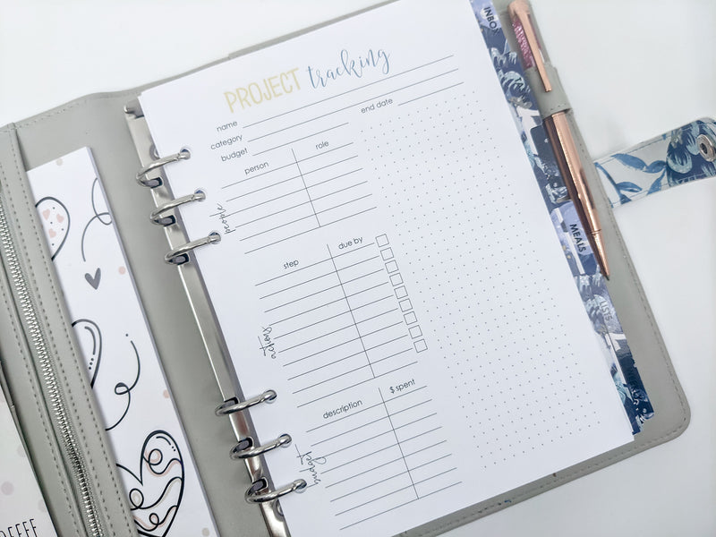 A5 Project Planning Planner Inserts