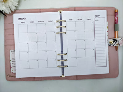 A5 Monthly Planner Inserts with lists on reverse