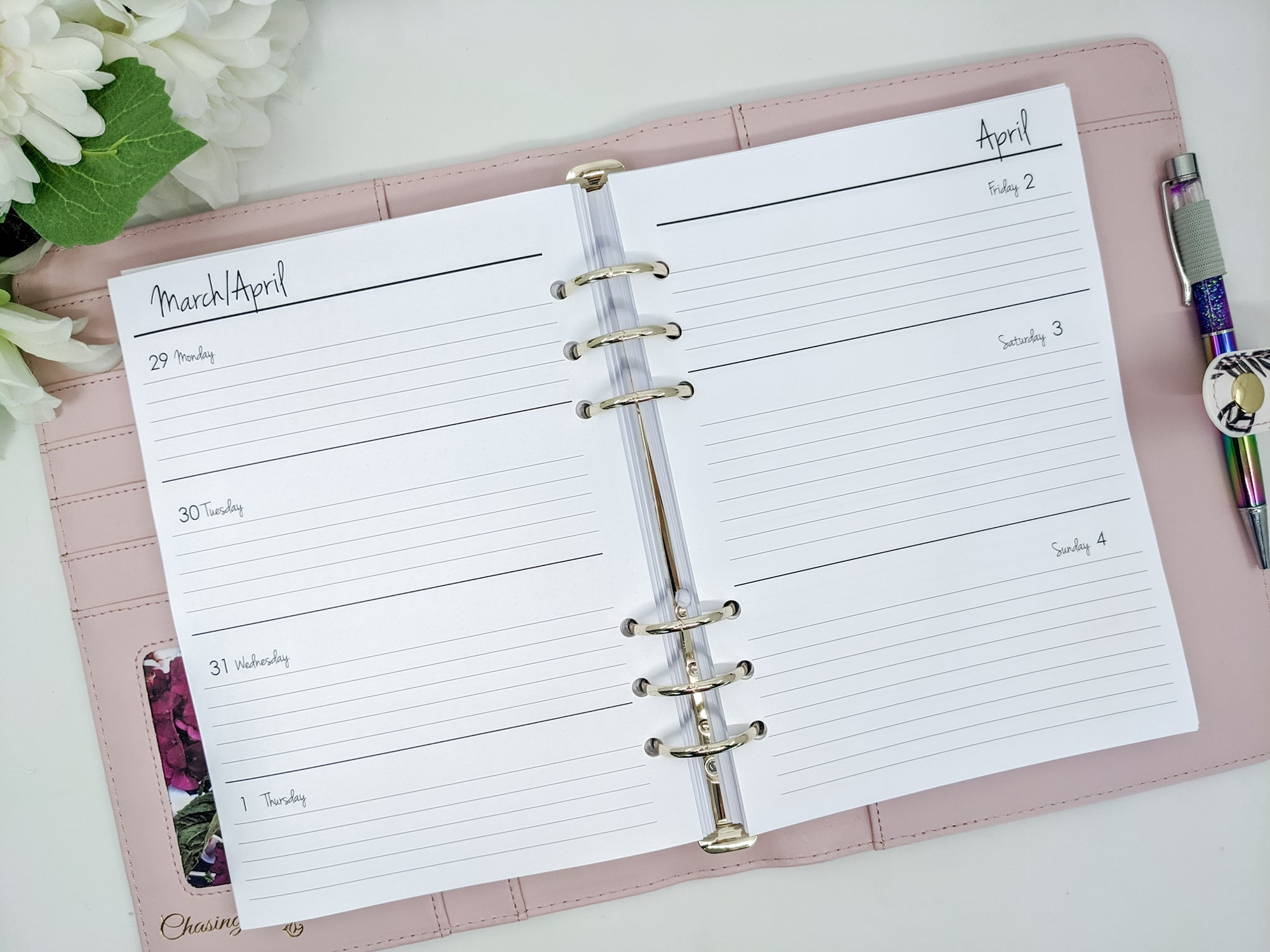 A5 Horizontal Weekly Planner Inserts with Extra Weekend Space | Lined or Unlined