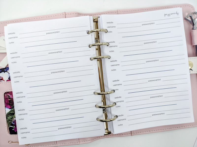 B6 Password Trackers Planner Inserts