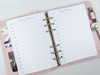 B6 Day on One Page Planner Inserts - Simple Style  (Timed or Untimed)