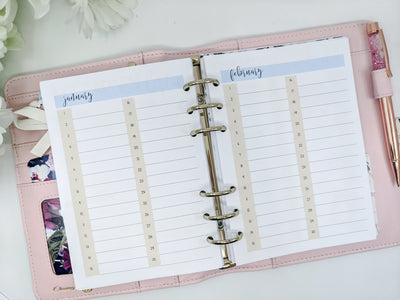 B6 Monthly Events Planner Inserts - Single or Double-Sided