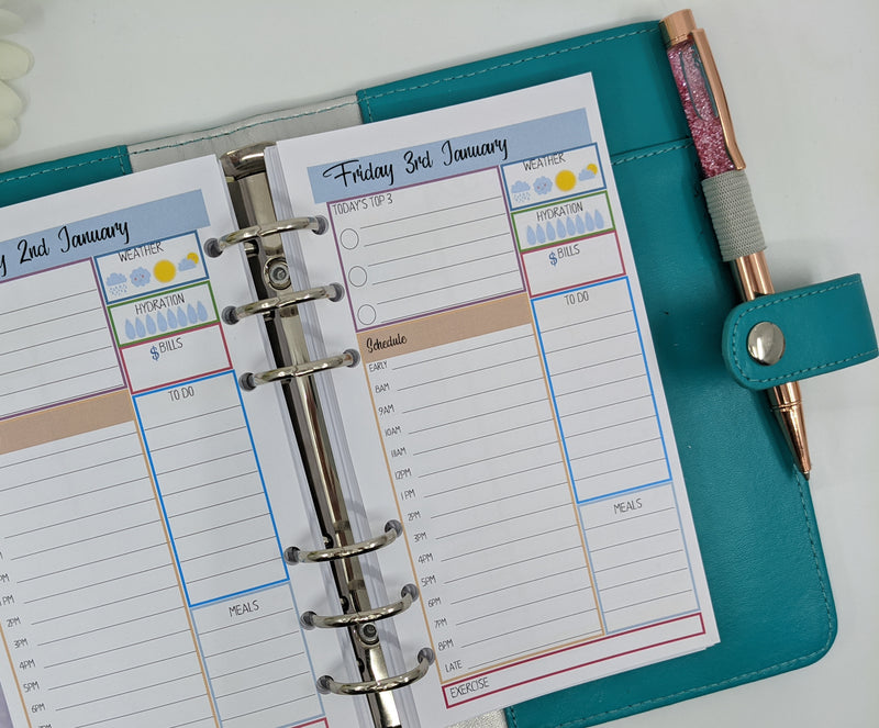 Personal Size Daily Planner Inserts | Blue & Peach