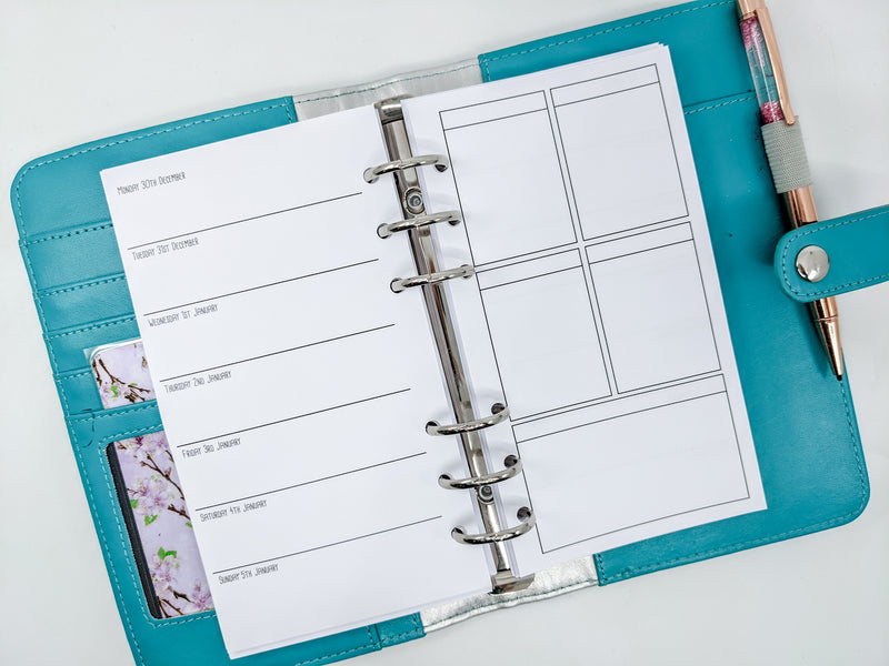 Personal Size Week on One Page + EC Boxes on Right Planner Inserts {Fits EC stickers}