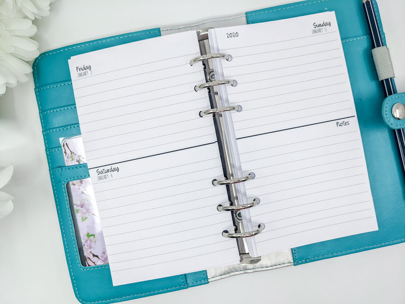 Personal Size Week on 4 Pages Weekly Planner Inserts | lined or unlined