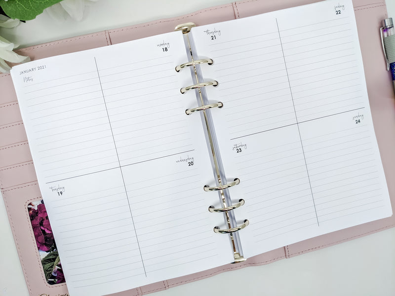 "A5 ""Week on Four Quarters"" Weekly Planner Inserts"