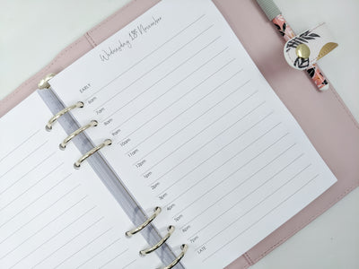 A5 Daily Planner Inserts | Simple Lines | Choose times or no times