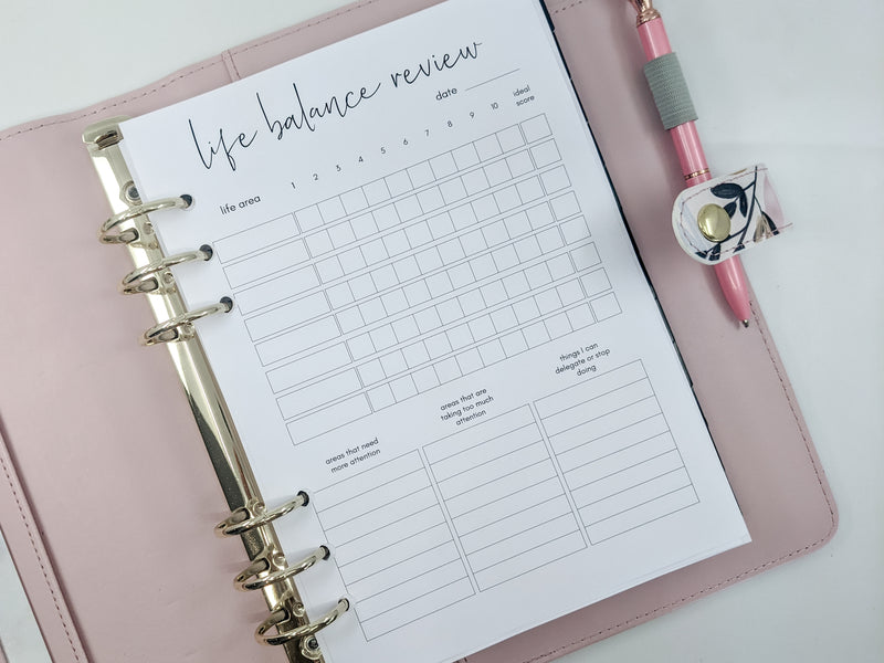 A5 Life Balance Planner Inserts