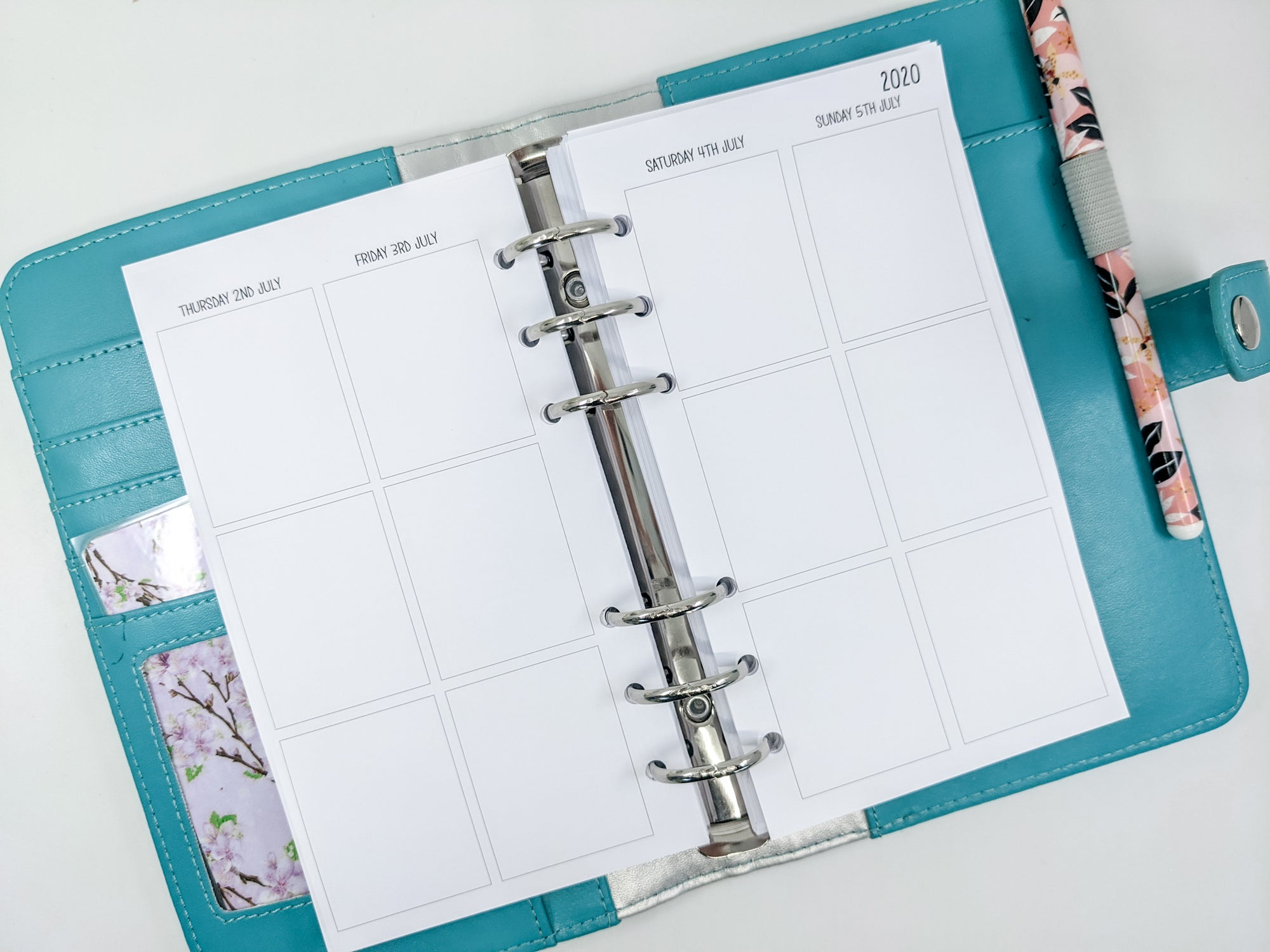 Personal Size - Week on 4 Pages Vertical Planner Inserts {Fits EC stickers)