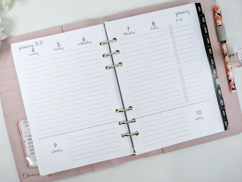 A5 Weekly Planner with Two Sections Per Day (Fits EC stickers)