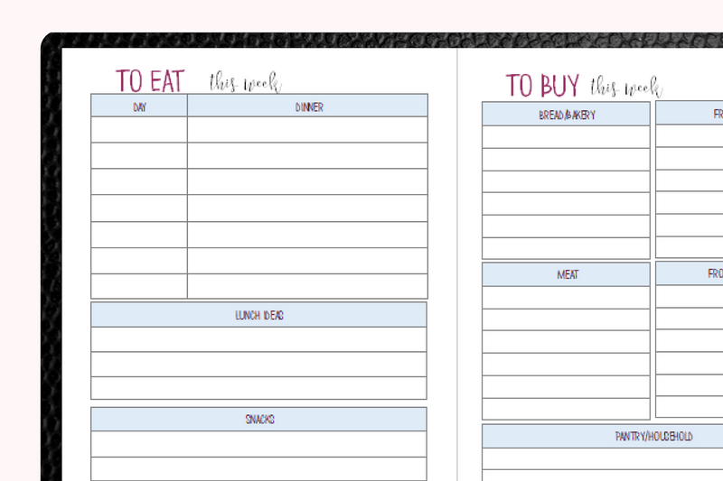 Meal Planner Booklet for Traveler's Notebooks - B6 Size