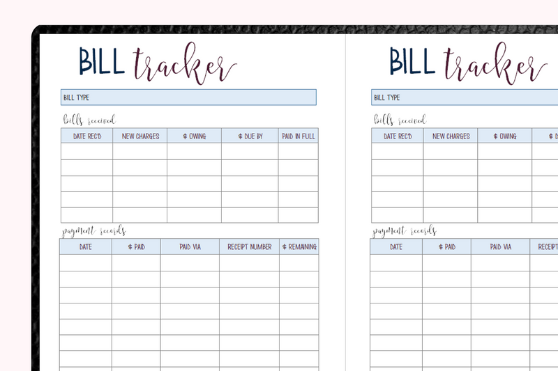 Bill Tracker A5 Traveler's Notebook Inserts