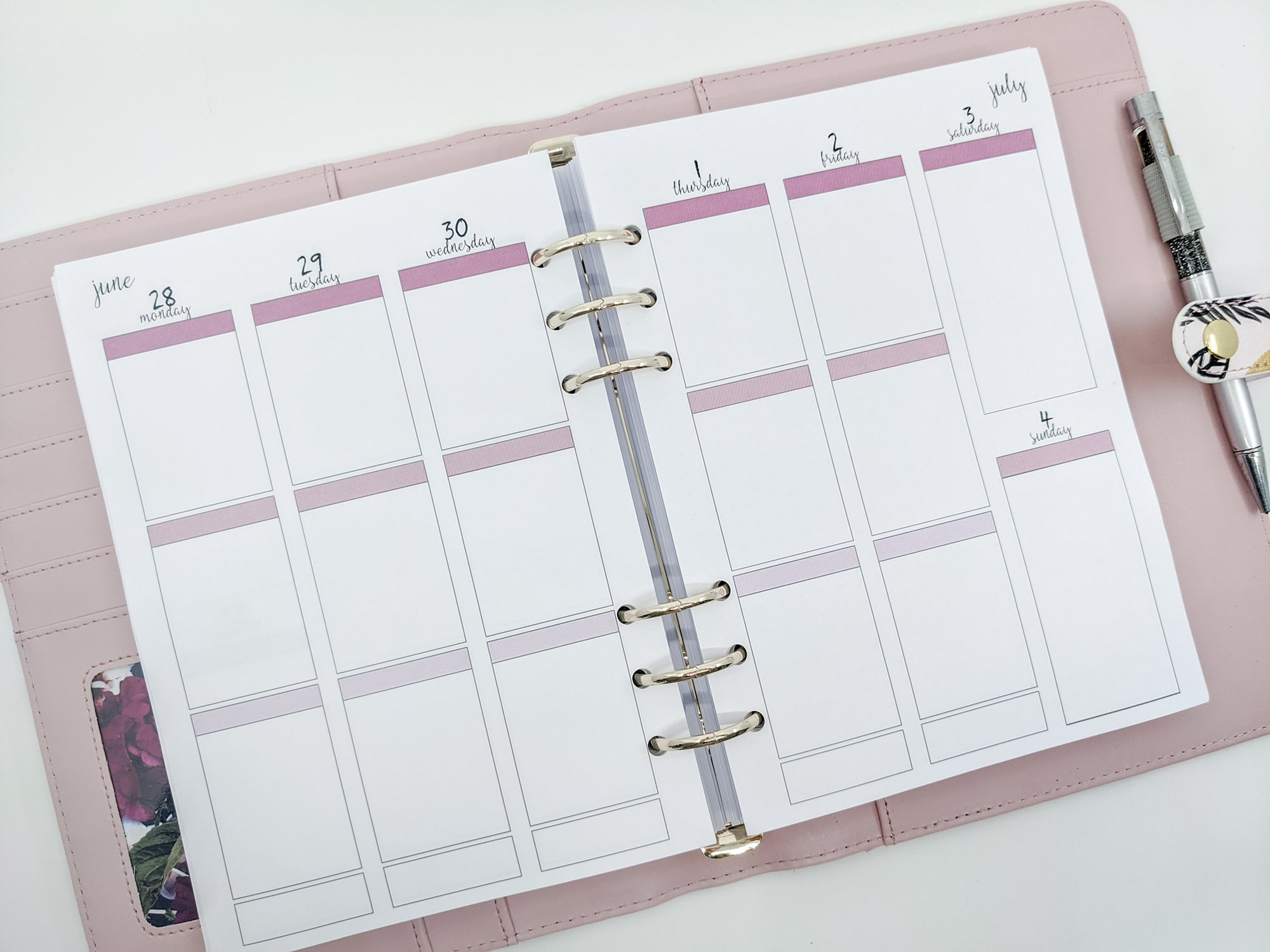A5 Coloured EC Style Weekly planner inserts {fits EC stickers}