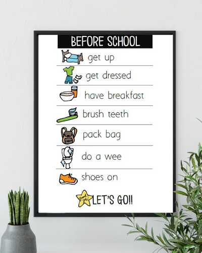 Before School A4 Routine Chart