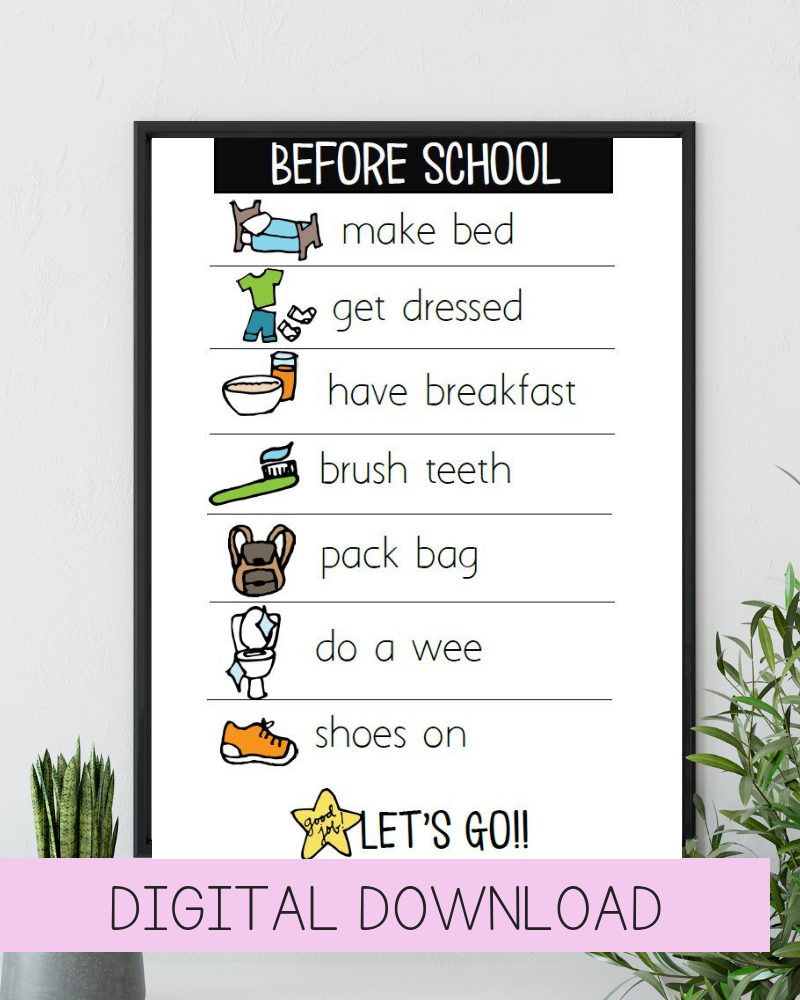Digital Download Before School Routine Chart