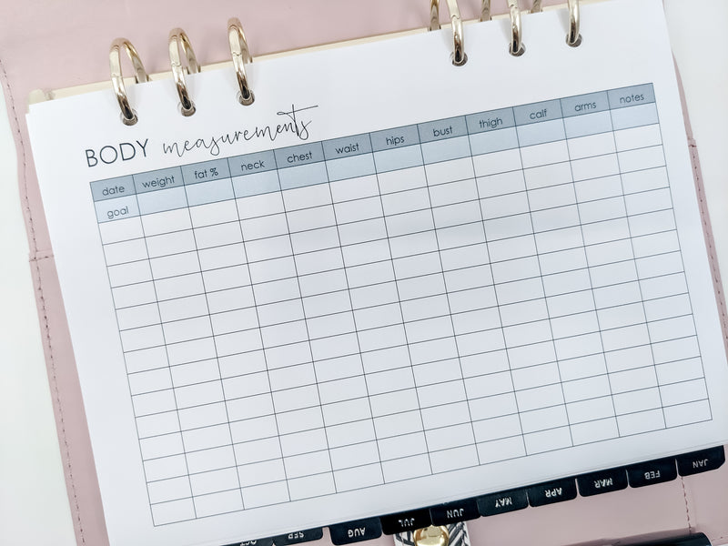 A5 Measurements Tracker Planner Inserts