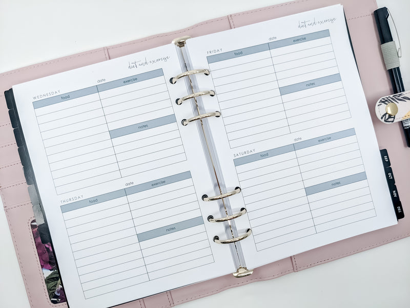 A5 Weekly Diet and Exercise Tracker Planner Inserts