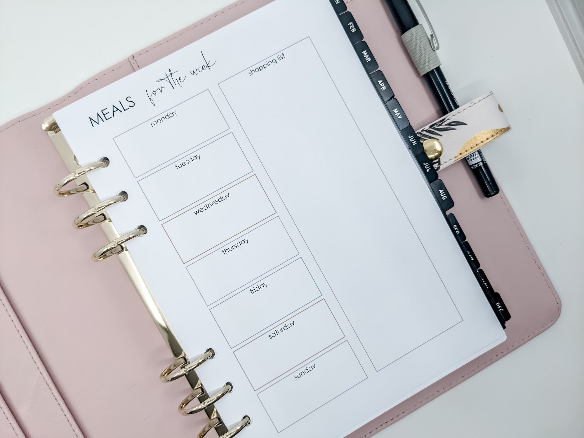 A5 Meal Planner & Grocery List planner refill