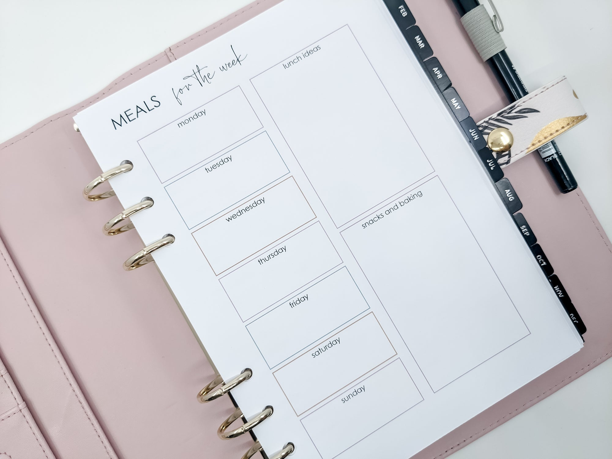 A5 Meal Planner & Snacks planner refill