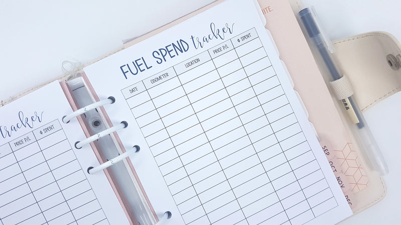 B6 Size Fuel Tracker Planner Inserts | 10 double-sided sheets