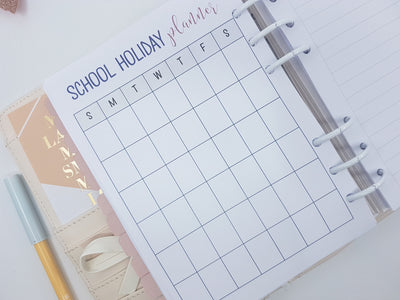 B6 School Holiday Planner Inserts | 2 x double-sided sheets