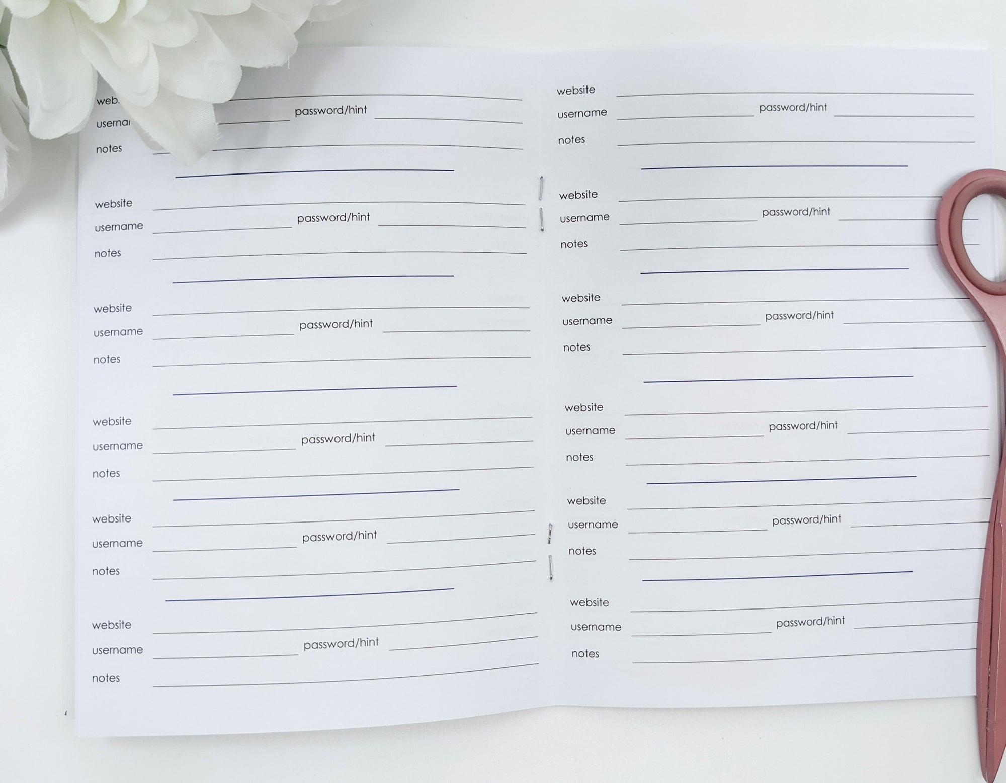 Password Traveler's Notebook Inserts - B6 Size