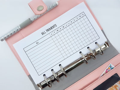 Personal size Bill Payment Tracker | 1 double-sided sheet | Colour or Monochrome