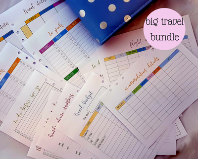 A5 Travel & Vacation bundle | 10 double-sided pages